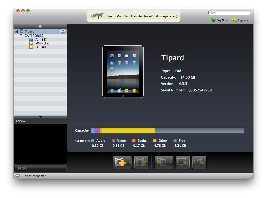 Tipard Mac iPad Transfer for ePub screenshot