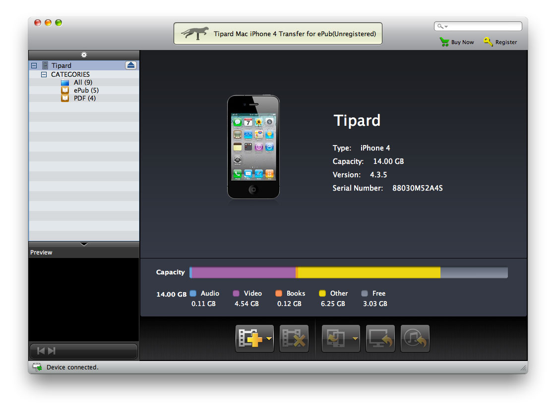 Tipard Mac iPhone 4G Transfer for ePub Screenshot