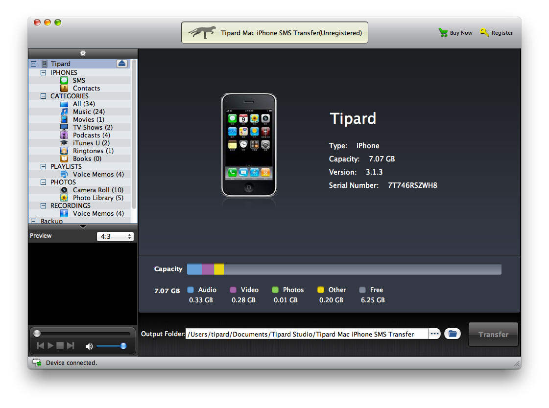 Screenshot of Tipard Mac iPhone SMS Transfer