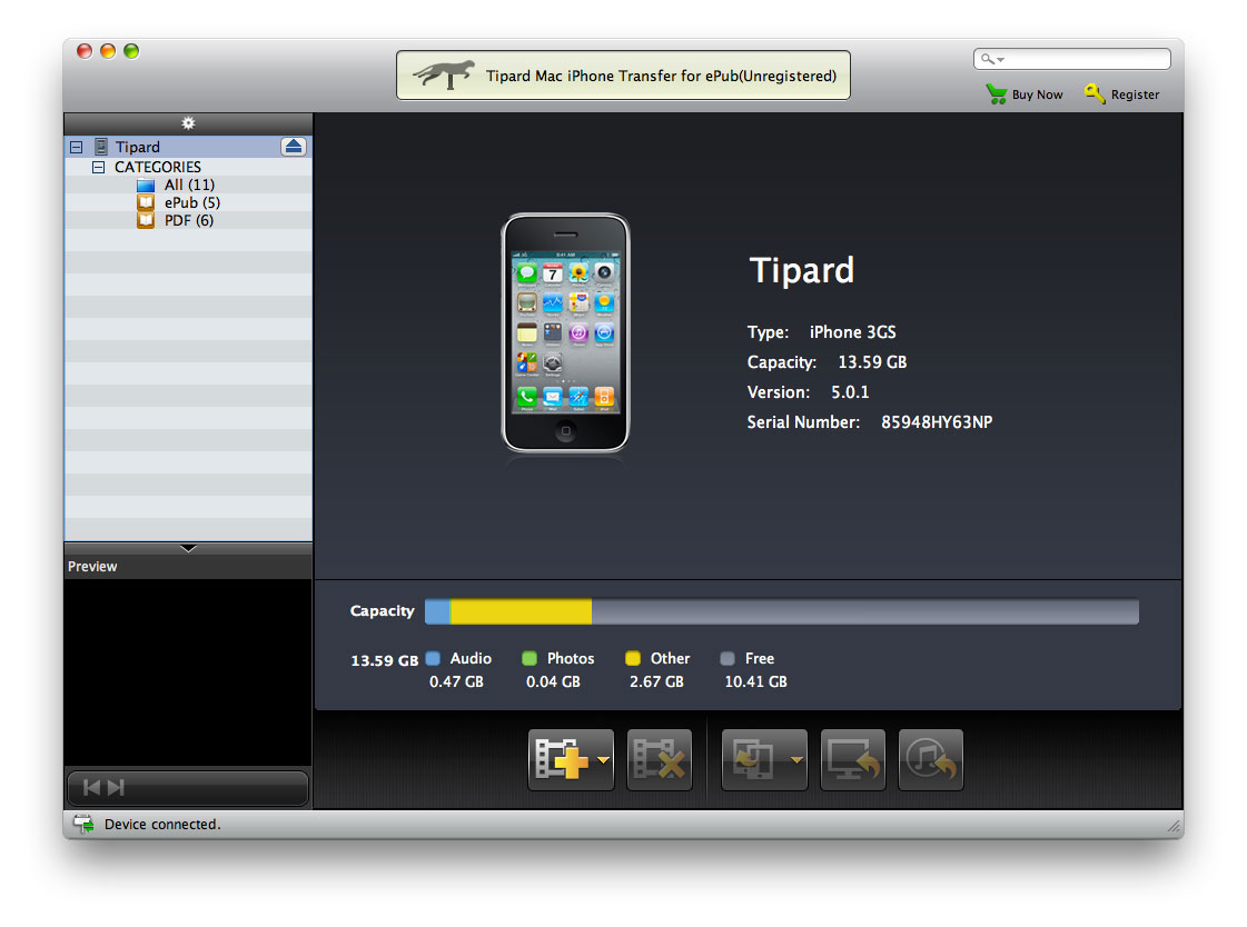 Tipard Mac iPhone Transfer for ePub Screen shot