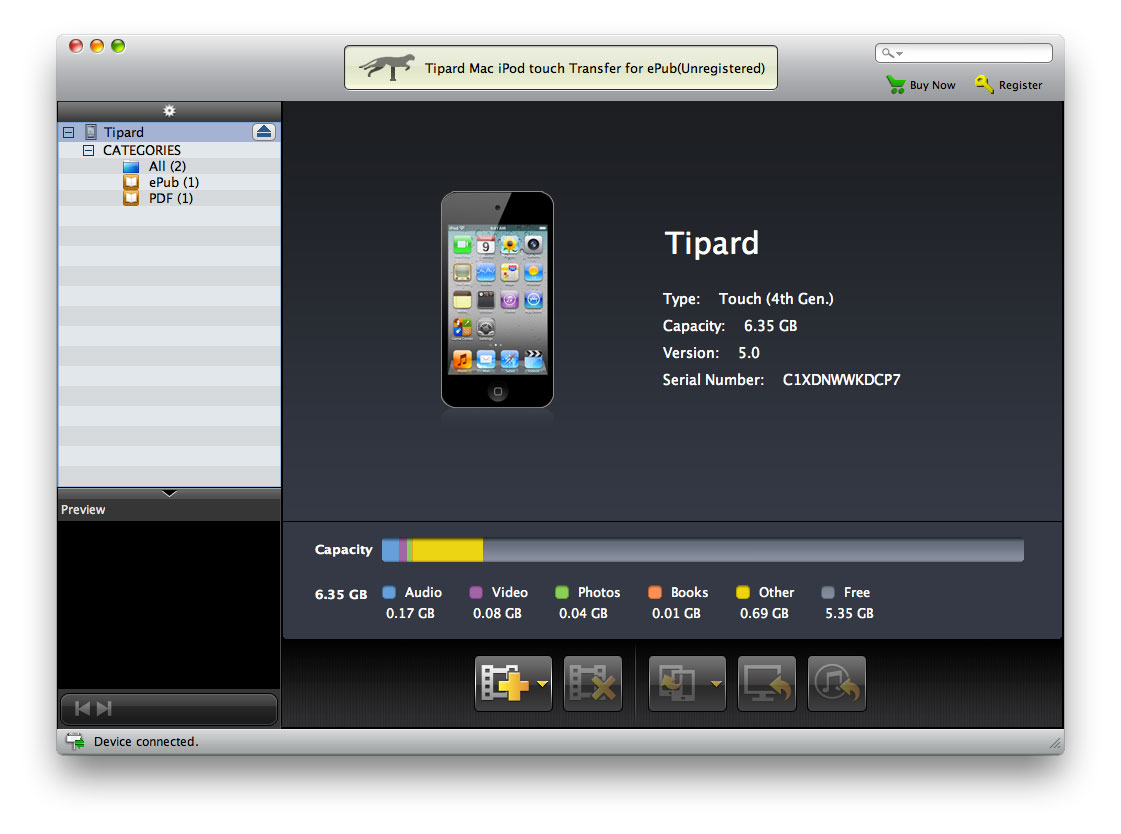 Tipard Mac iPod touch Transfer for ePub Screenshot