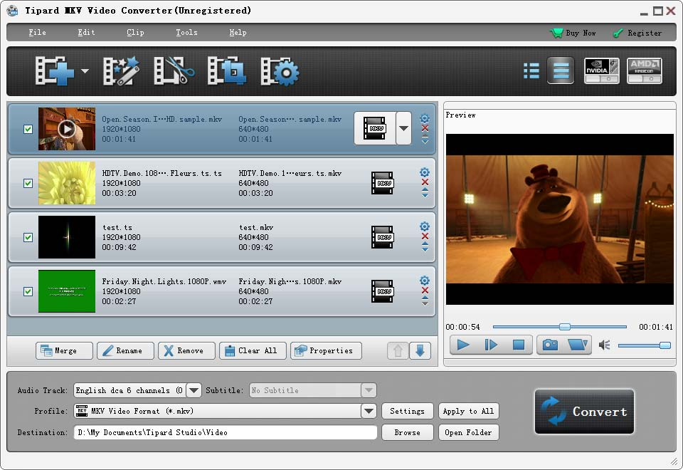 Click to view Tipard MKV Video Converter screenshots