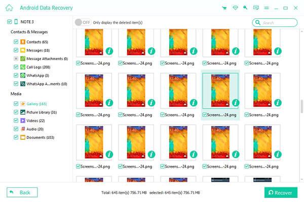 Restaurer des fichiers depuis Android