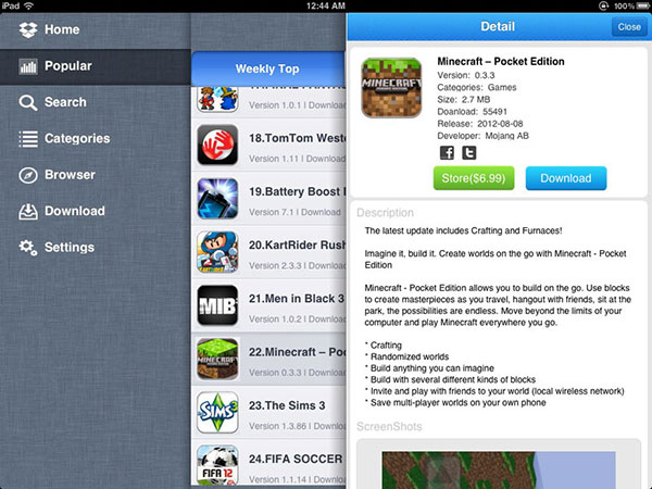 Usa AppCake su iPhone / iPad
