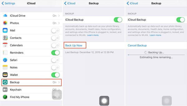 Backup iPhone Notes til iCloud