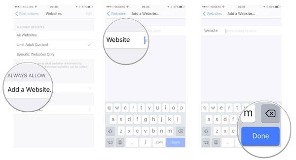 Vytvořte v seznamu iPhone určité webové stránky