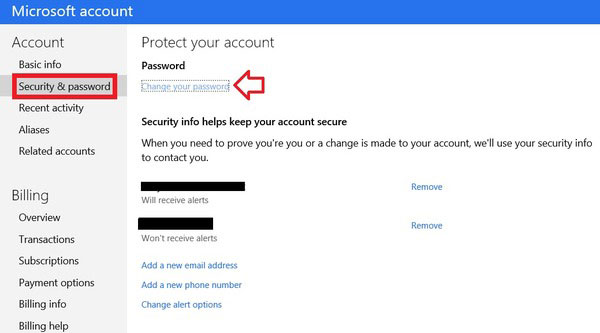 Cambia la password dell'account