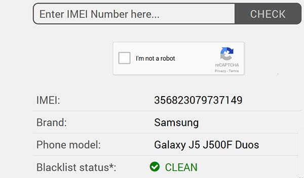 Zkontrolujte čistý IMEI zdarma