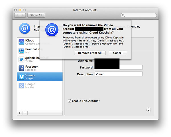 MacでiCloudアカウントを削除する