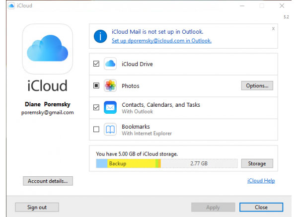 Excluir uma conta do iCloud no Windows