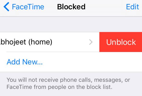 Tjek den blokerede liste