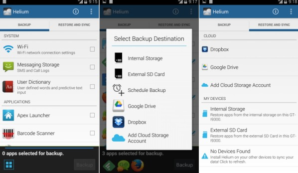 Backup Android med Helium