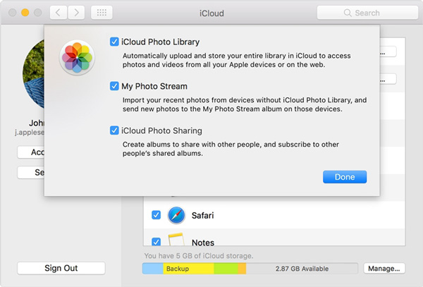 Acessar as fotos do iCloud no Mac