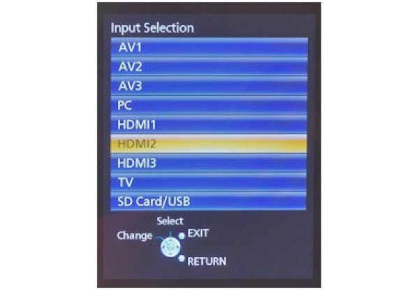Select HDMI input into the TV Setting