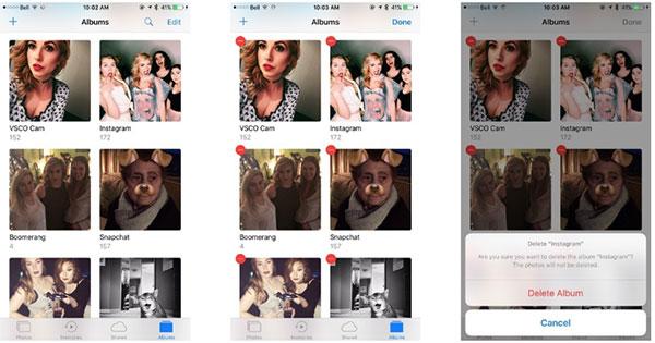Fotoalbum vytvořené instalovanými aplikacemi