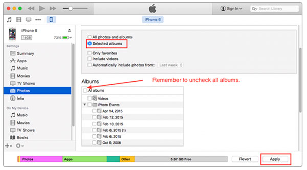 Excluir álbuns do iPhone usando o iTunes