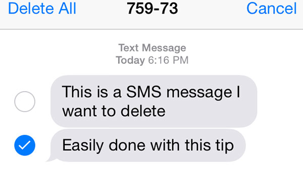 Διαγραφή μεμονωμένων μηνυμάτων κειμένου