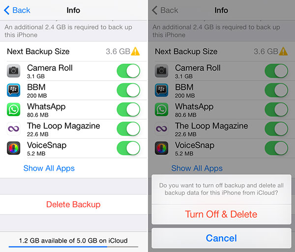 Disattiva i file di backup di iCloud