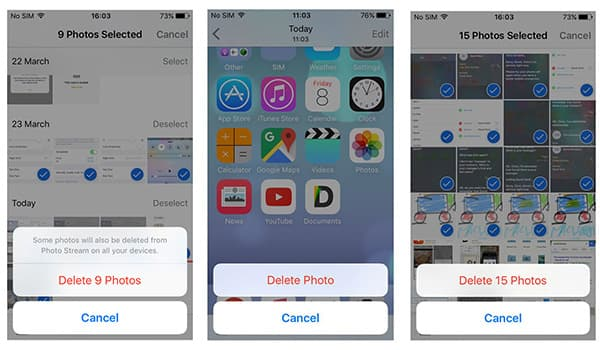 delete photos from ipad directly