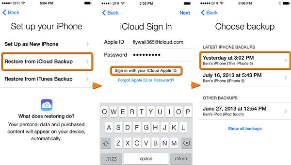 استعادة iPhone من النسخ الاحتياطي على iCloud