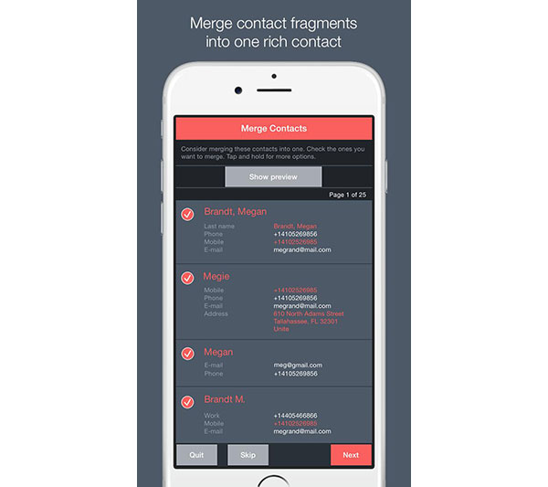 Sloučit kontakty v telefonu Android