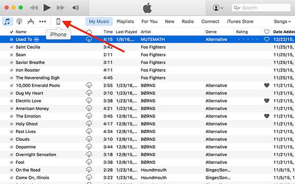 Escolha o arquivo do iPhone