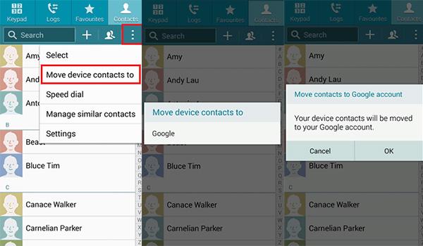 przesyłaj kontakty za pośrednictwem Gmaila