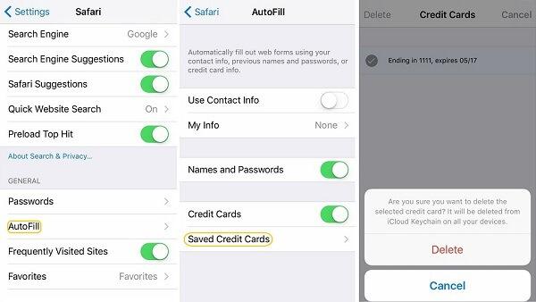 Кредитная карта iCloud Keychain