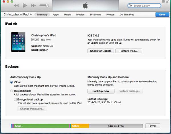 Restaurer à partir d'iTunes