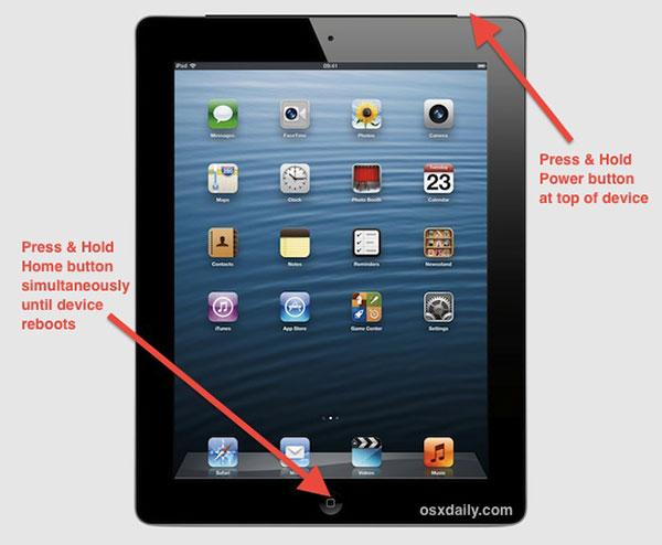 Zrestartuj Frozen iPada