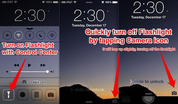 Käytä iPhone-taskulamppaa oikein