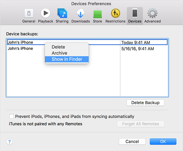 Mac itunes backup placering