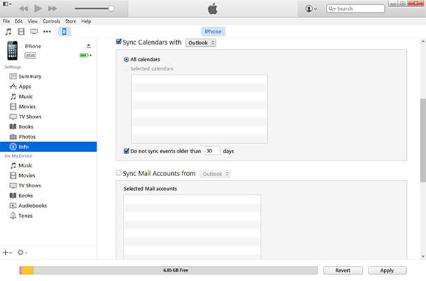 Syncing Outlook calendar with iTunes