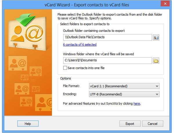 vCard Wizard Contacts Convert