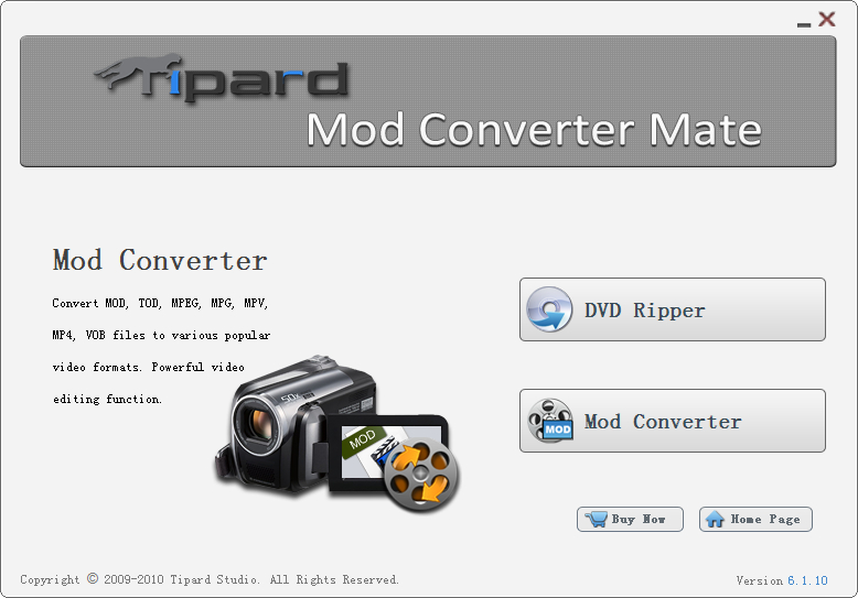Convert MOD file to MP4, AVI, WMV, MOV.