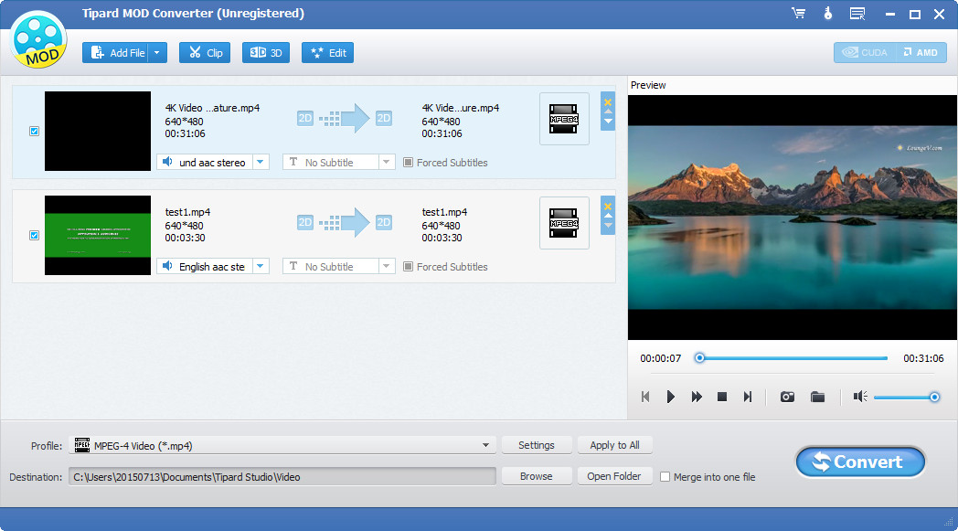 Convert TOD MOD to popular video formats extract audio from MOD and TOD video. great Screen Shot