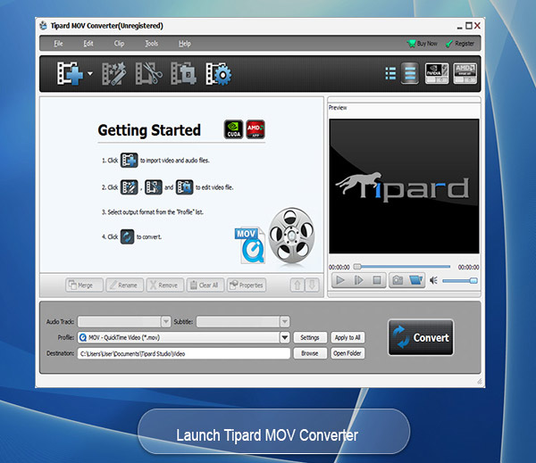 Tipard MOV Converter Screen shot