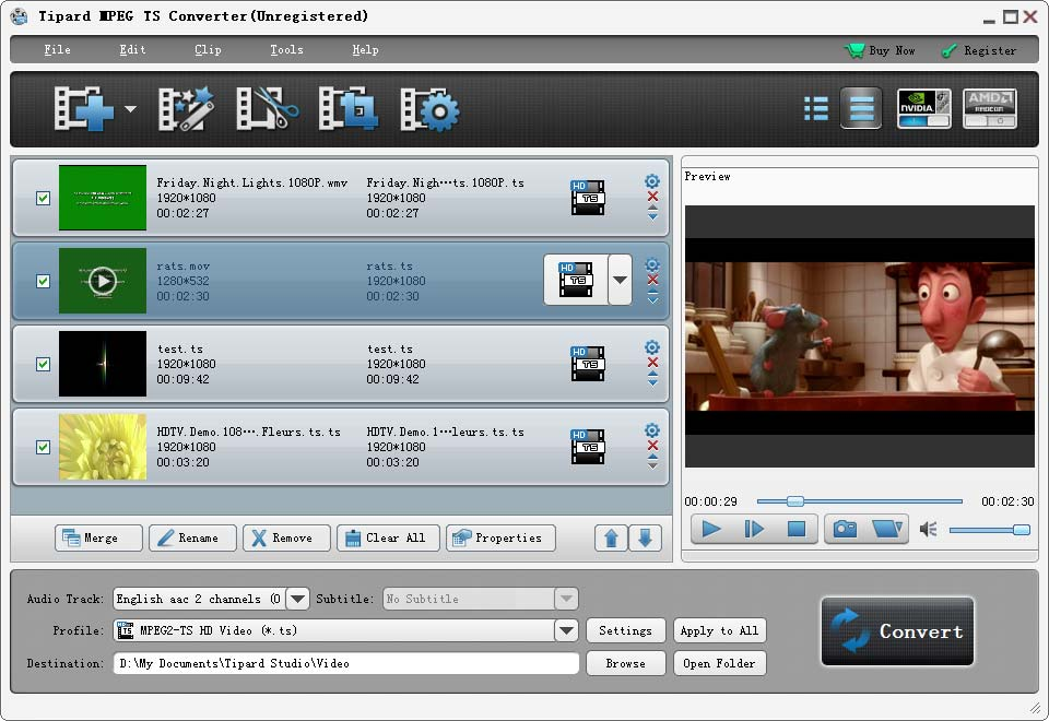 Tipard MPEG TS Converter Screenshot