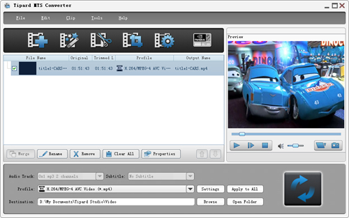 How to Convert MTS/Mod/Tod to AVI/3GP/WMV/FLV/MP4/MPG etc Load-mts-h.264