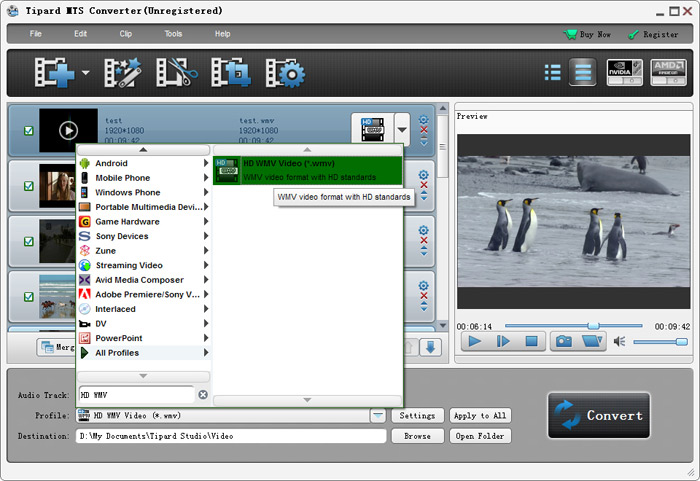Choose WMV format for Windows Movie Maker