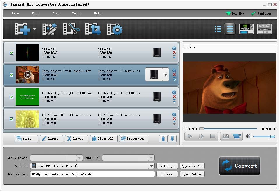 Tipard MTS Converter Screen shot