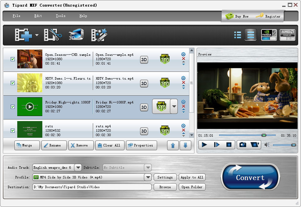 Tipard MXF Converter full screenshot
