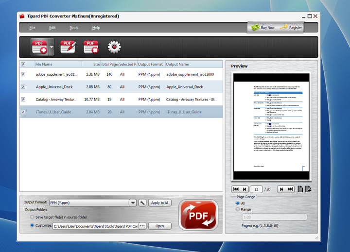 Tipard PDF Converter Platinum Screen shot