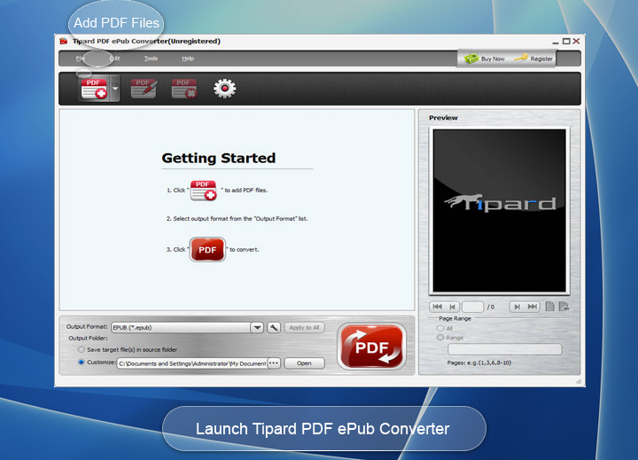 Click to view Tipard PDF ePub Converter screenshots
