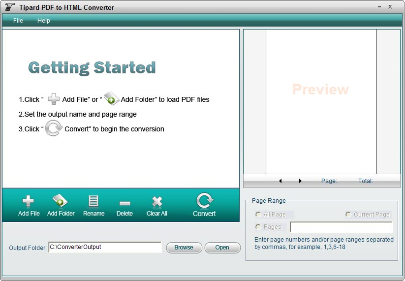 Tipard PDF to HTML Converter Screen shot