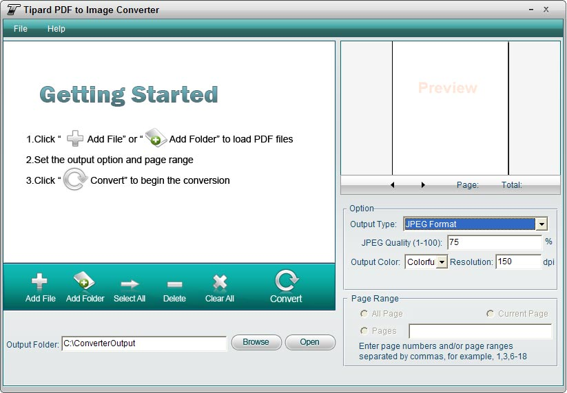 Tipard PDF to Image Converter Screen shot
