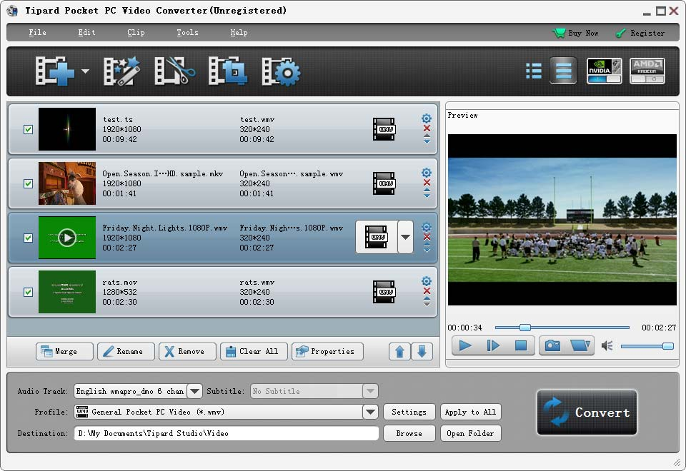 Tipard Pocket PC Video Converter Screenshot