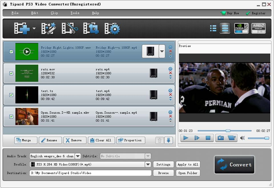 Click to view Tipard PS3 Video Converter screenshots