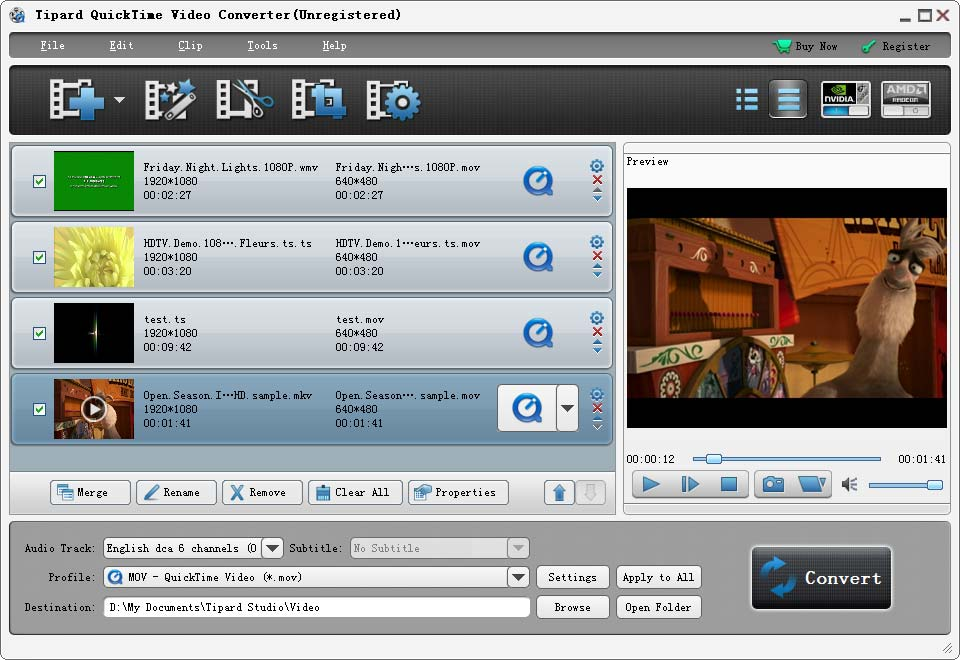 Tipard QuickTime Video Converter Screenshot