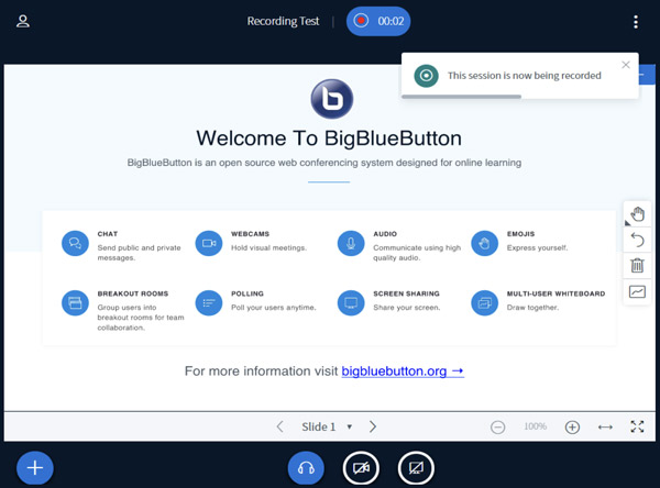 Spuštění nahrávání relace BigBlueButton